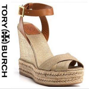 💕SALE Tory Burch Fabian Tan Canvas Metallic Wedge